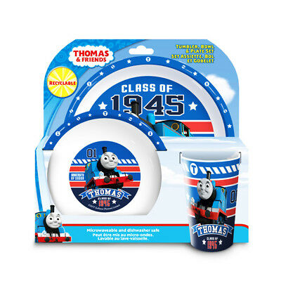 Thomas The Tank Engine 3- Piece Plate Bowl And Cup Dinner Tableware set (Thomas The Tank Engine Plates And Cups)