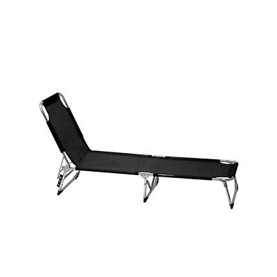 Lifetime Garden Sunlounger Black Foldable 3 Position Garden Outdoor Beach Relax
