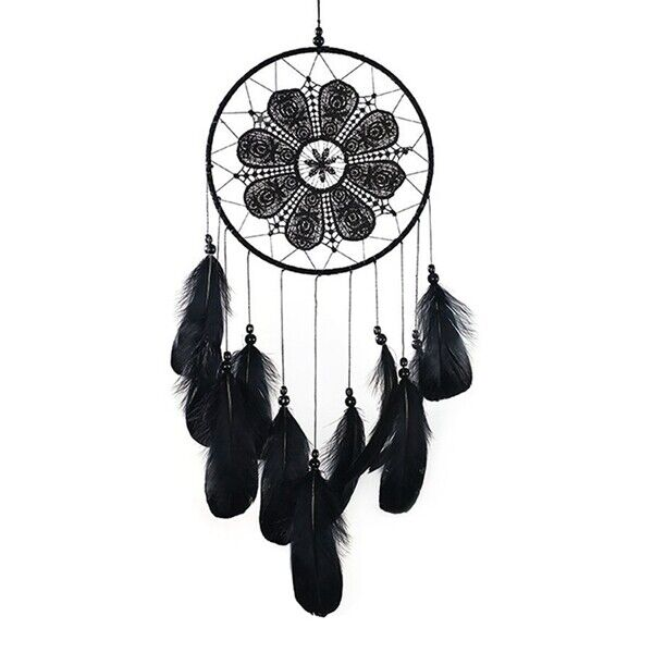 Handmade Dream Catchers Black Feather Lace Dream catchers for Wall Hanging Boho