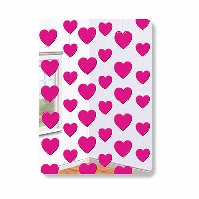 ARTY PINK HEART 7FT HANGING STRING ENGAGEMENT DECORATION (Valentines Day Party)