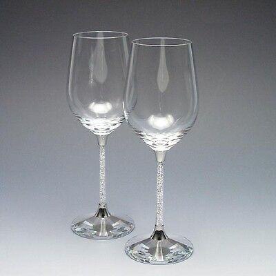 New Exclusive Swarovski Crystal Filled Stem Wine Glasses (Pair)