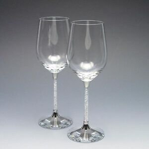 New exclusive swarovski crystal filled stem wine glasses pair ebay - Swarovski stemware ...