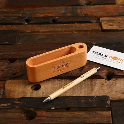 Personalized Wooden Pen W Business Card Pen Holder In Beech Wood Stationery Set