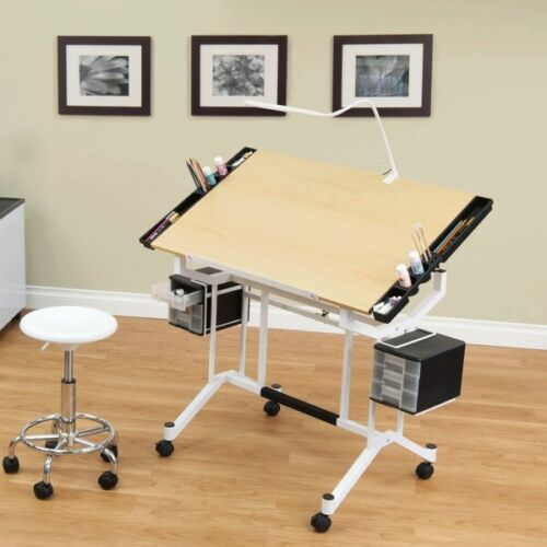 Studio Designs Pro Adjustable Art Drafting Work Station Table Desk, White/ Maple