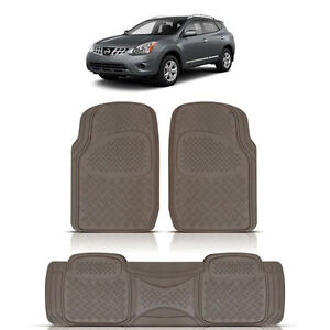 3pc heavy duty beige rubber floor mats runner for nissan. Black Bedroom Furniture Sets. Home Design Ideas