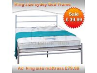 Metal bed king size brand new Frame