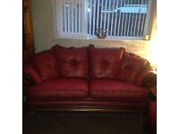 Hand made Italian leather 3 and 2 seater sofa