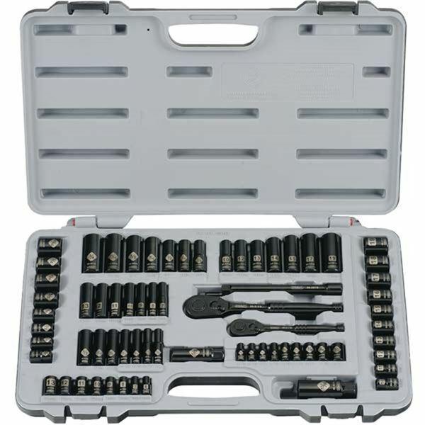 "Stanley 92-824 69 Pc Inch/Metric 1/4"" & 3/8"" Drive Black Chrome Socket Set"