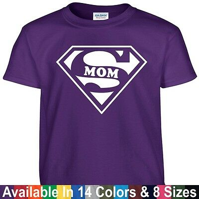 SUPER MOM Funny Wife Mothers Day Birthday Christmas Shower Gift Tee T Shirt - Mom Shower