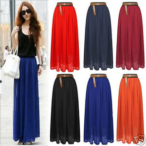 Hot-Summer-Girls-Chiffon-Pleated-Long-Maxi-Skirt-Elastic-Waist-Band-Dance-Dress