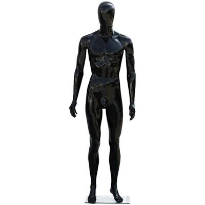Mn-439 Glossy Black Plastic Egghead Male Full Size Mannequin With Removable Head