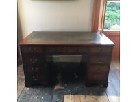 Leather top captains desk and chair