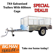 ➐7X4 Galvanised Trailers With 600mm Cage➐ Clayton Monash Area Preview