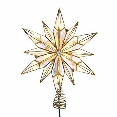 Kurt S. Adler 10-Light 12-Point Capiz Star and Center Gem Treetop, Gold, White