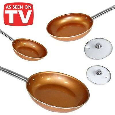 Set 3 padelle copper rivestite in ceramica e rame antiaderente red pan 20/24/28