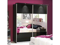 Mirrored 2 Door Sliding Wardrob Shelves Hanging rails in Super High Gloss Finish- Brand New