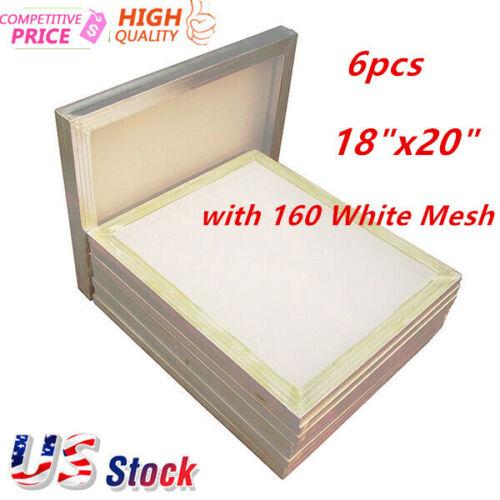"US 6pcs Aluminum Frame Silk Screen Printing Screens 18""x20"" with 160 White Mesh"