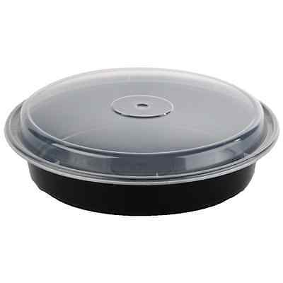 """48 oz 9"""" Black Round Microwavable Plastic Container with Lid - 50ct"""