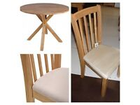 Round oak table and 4 solid cream chairs dining set