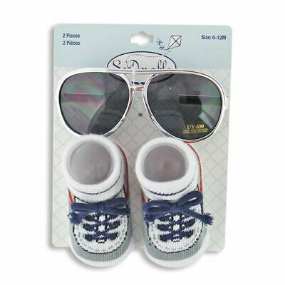 Baby Boy Silver Aviators Sunglasses and Sock Set - Newborn - 12 Months](Baby Aviators)
