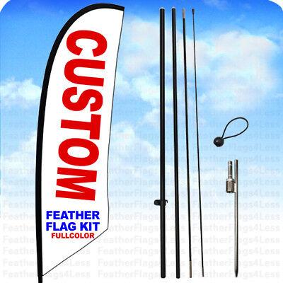 Custom Windless Swooper Flag Kit Feather Banner Sign 14 Ft Tall Set