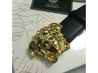 Medusa gold head plain black leather belt versace boxed amazing gift for him