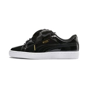 low priced ed56d 04883 Puma Basket Heart Sneakers - Patent Black   Women's Shoes ...