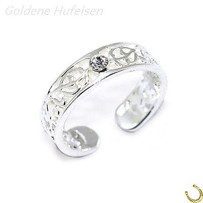 ZEHENRING Weiss Kristall 925 Sterling Silber Zehring Geschenkidee / 6654v