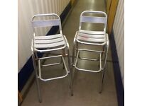 2x tall aluminium out door chairs bar bistro chairs