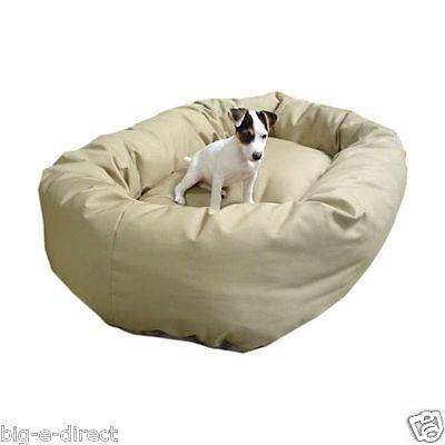 """Khaki - Donut Bagel Animal Pet Dog Bed - 52"""" Extra Large 360° Bolster Cushion"""