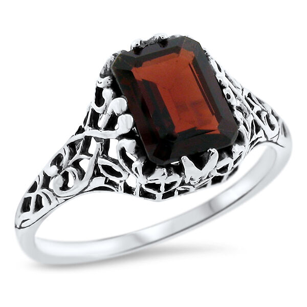 2 CT GENUINE GARNET 925 STERLING SILVER ANTIQUE STYLE RING SIZE 6,          #701