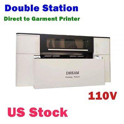 110v Double Station Direct To Garment Printer With Panasonic Printhead Us Stock