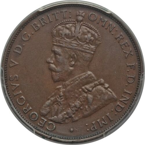 AUSTRALIA GEORGE V 1933/2 1 PENNY COIN, ALMOST UNCIRCULATED CERTIFIED PCGS AU50