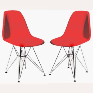 Set Of 2 Replica Eames Side Chairs Metal Red Mount Druitt Blacktown Area Preview