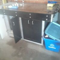 outdoor/indoor wet bar walnut butcher block