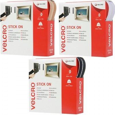 VELCRO® Brand 1m x 20mm Stick On Hook & Loop Tape White, Black,Ecru