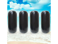 """4pcs Ribbed Boat Fender 8/""""x27/"""" Inflatable Bumper Dock Shield Protection Black"""