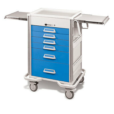 Steel Procedure Cart 6 Aluminum Drawers Push Button Lock 44.25h Crash Cart Blue