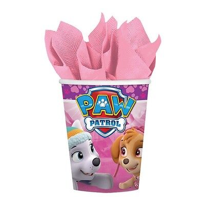 8 Paw Patrol Pink Girl's Birthday Party 9oz Paper Beverage Cups