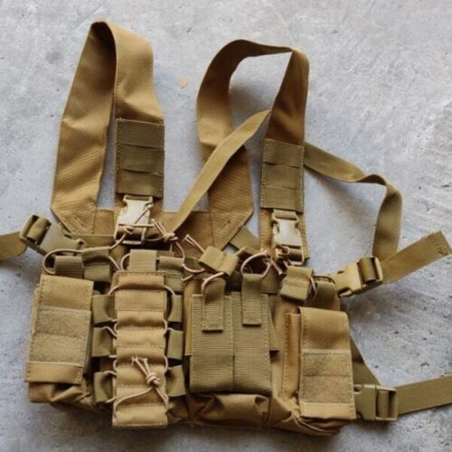 Airsoft Paintball Chest Rig Pack Pouch Heavy Duty Vest - Tan