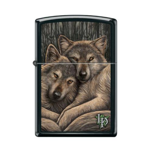 """Zippo 9290,  """"Resting Wolves"""" Black Matte Finish Lighter, Lisa Parker"""