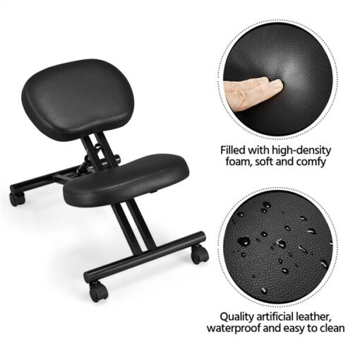 Adjustable Ergonomic Kneeling Chair Posture Chair Stool for Home Office Black 2
