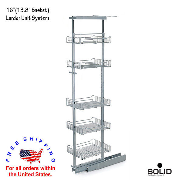 """16"""" (13.8"""" Basket) 5 Tier Larder Pantry Pull Out Organizer Adjustable Height"""