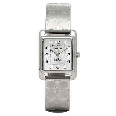 Coach Womens Stainless Steel Etched Bangle Bracelet Watch 32X24mm 14502159