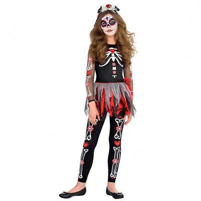 Childs Scared Bone Day of The Dead Halloween Fancy Dress Costume Age - Scared Children Halloween