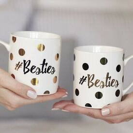 Best Friends Gift - Pink Giftbox With 2 Besties Mugs-New