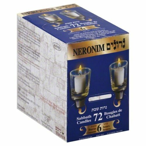 Neronim Candles 6 Hour Safe Dripless Shabbos Yom Tov Holiday Neriot Votive 72 PK