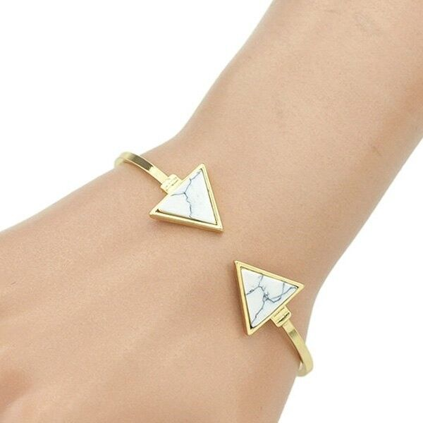 Marble Pattern Triangle Shape Embellished Bracelet
