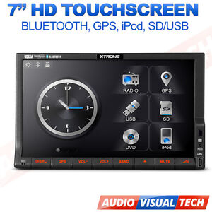 XTRONS 7'' Double 2 Din GPS HD in dash Car DVD Player SAT NAVI Bluetooth MP3 AUX