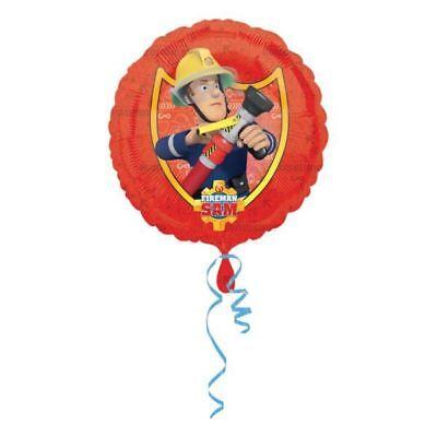 45.7cm Red Fireman Sam Children's Birthday Party Round Foil Balloon - Fireman Balloons